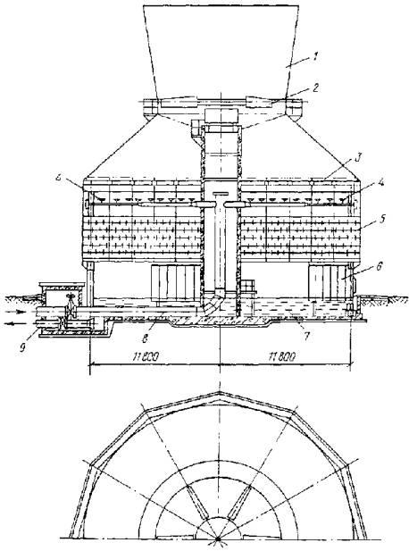 Черт.  3. Схема одновентиляторной градирни площадью 400 м2 с вентилятором марки 1ВГ 104.