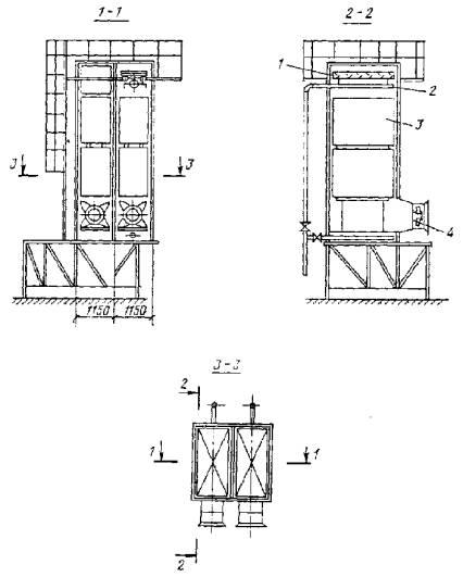 Черт.  4. Схема вентиляторной градирни, располагаемой на зданиях.
