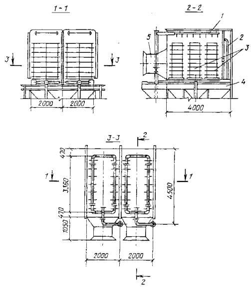 Черт.  5. Схема поперечноточной градирни с нагнетанием воздуха вентилятором.