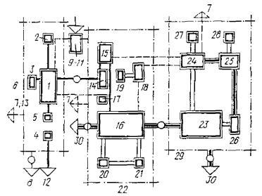 Рис. 41.  Функционально-планировочные схемы связей производственных помещений.  1 - пошивочная; 2 - обувная; 3...