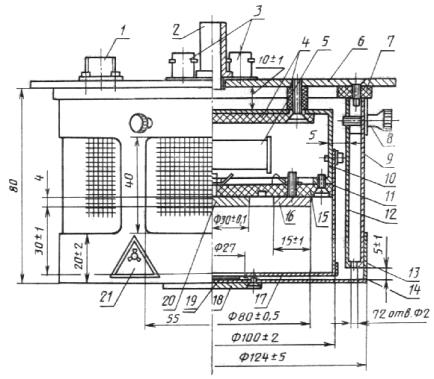 Черт.3. 4. Схема подключения контрольной ионизационной камеры приведена на черт.4. Схема подключения КИК.