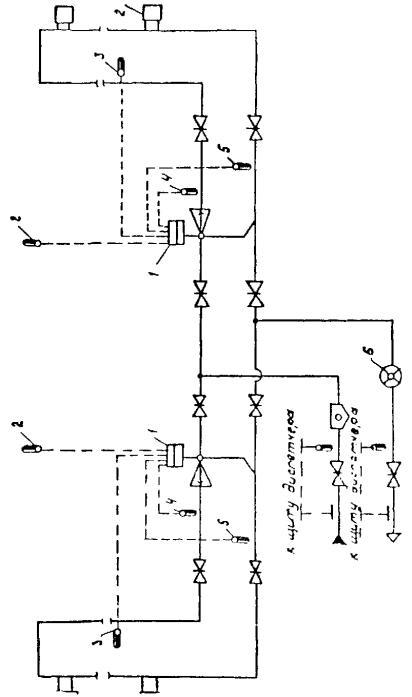 Рис. 45.Технологическая схема пофасадной автоматизации системы отопления с элеватором срегулируемым сечением сопла.