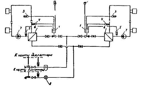 Рис. 49.  Технологическая схема пофасадной автоматизации системы отопления с независимым присоединением.