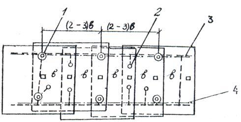 Рис.3. Схема расположения опознаков для обоснования маршрутов аэрофотосъемки приизысканиях для усиления и...