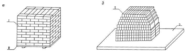 1 - кирпич; 2 - поддон; 3 - железобетонная плита.  Схемы складирования кирпича.