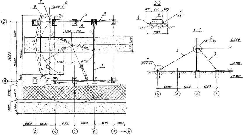 """2 . Схема строповки конструкций дана на лл.  28,29.  Схема монтажа первой рамы по оси  """"6 """". Условные обозначения."""