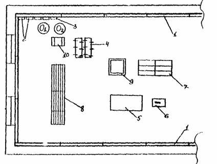 Схема организации рабочего места приведена рис. 1. 1 - деревянный каркас; 2 - установленные древесностружечные плиты...