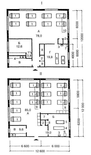 11. слив. буфетная с мойкой; Г - ванная со... спальная комната; Б - комната воспитателя. планировочная схема жилых...