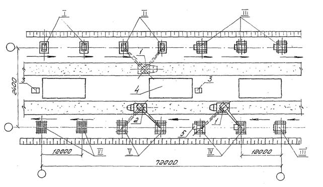1 - кран автомобильный СМК-10; 2 - кран автомобильный КС-2561Д; 3 - площадка для приема бетонной смеси; 4 - место...