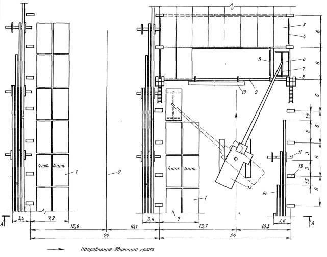 4 - временное ограждение.  2 - ось движения трактора с блоком.  1 - штабель плит покрытия.  7 - траверса.