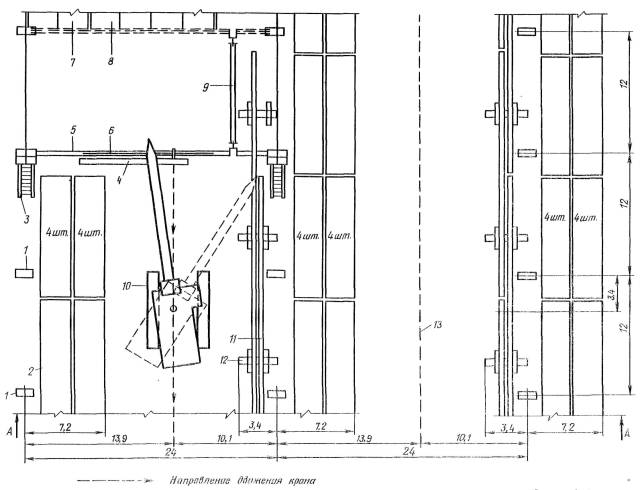 3 - лестница приставная секционная.  5 - стропильная ферма.  4 - площадка навесная.