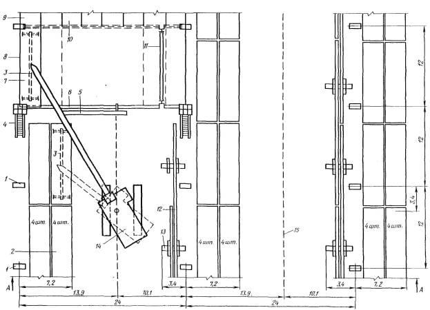 7 - плита покрытия.  1 - колонна.  3 - траверса.  9 - смонтированное покрытие.  2 - штабель плит покрытия.