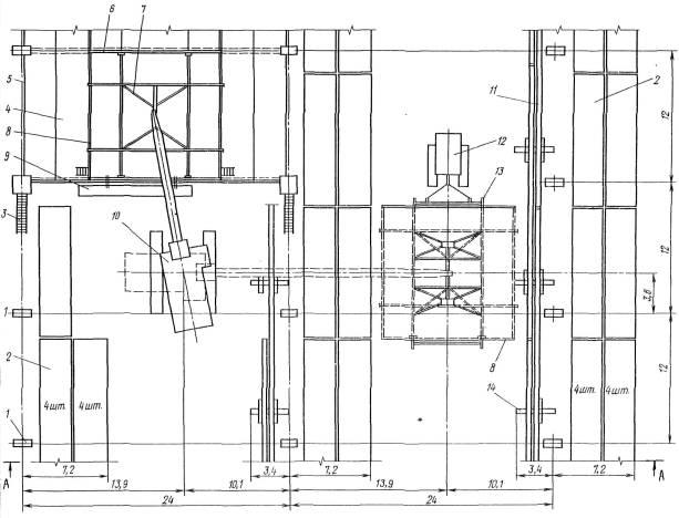 1 - колонна.  2 -штабель плит покрытия.  3 -лестница приставная секционная.  8 - рядовойфонарный блок.
