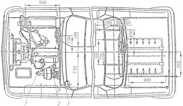 Рис. 3. Монтажная схема газобаллонного оборудования для автомобиля Волга: 1 - вариатор; 2 - катушка зажигания; 3...