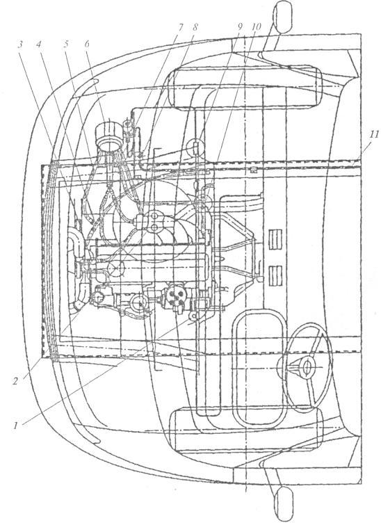 """Рис. 5. Монтажная схема газобаллонного оборудования ЗАО  """"Автосистема """" под капотом автомобиля ГАЗ-3302: 1..."""