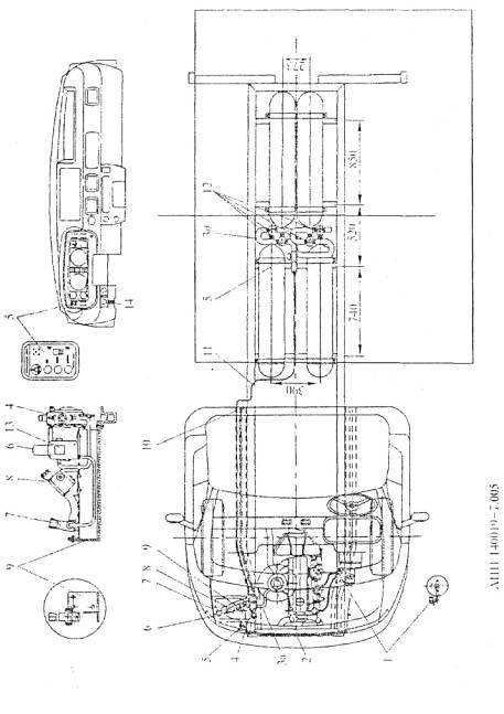 """Рис. 7.5.  Схема размещения деталей и узлов АГТС  """"САГА-7&raquo на автомобиле ГАЗ-3302  """"Газель&raquo."""