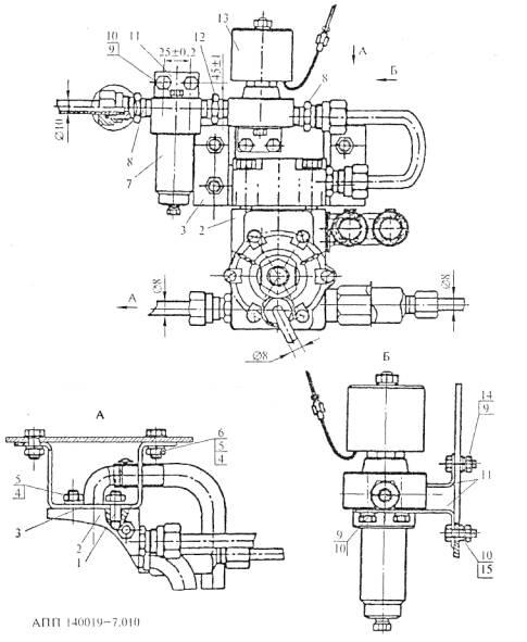 Схема монтажа фильтра газа, газового ЭМК и редуктора-подогревателя высокого давления.