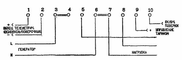 РИС. 11. включение двухтарифного счетчика электроэнергии типа СЭБ-2.