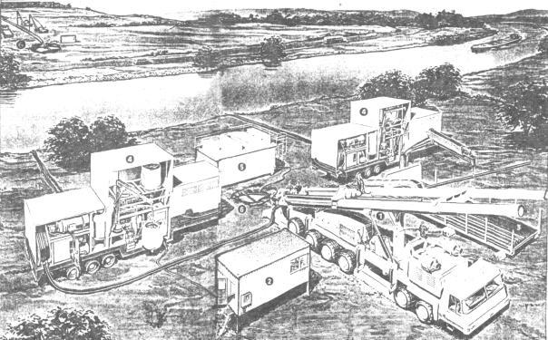 Рис.3. Схема размещения оборудования на строительной площадке при ННБ.  1 - буровая установка; 2 - станция контроля...