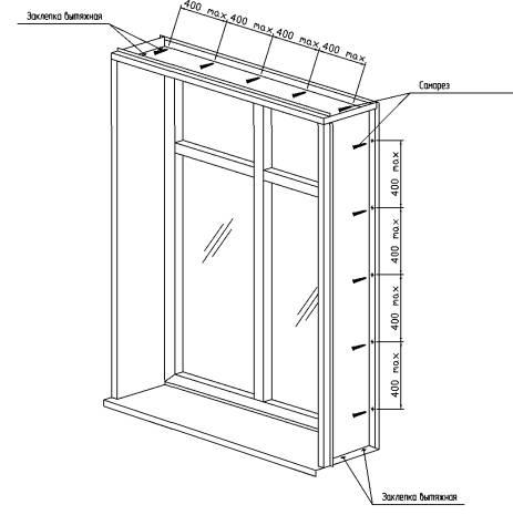 Конструкция навесной фасадной системы с воздушным зазором для облицовки кассетами из алюминиево-композитных панелей.