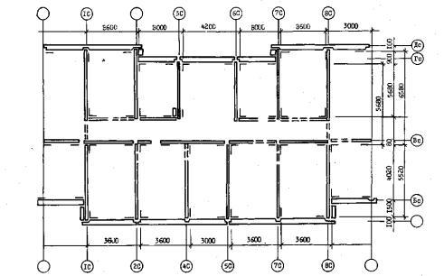 Рис. 1.П3.  Детальная разбивка осей на монтажных горизонтах крупнопанельных жилых зданий.