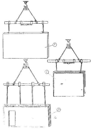 Траверса для разгрузки и монтажа Поз.  3. Схема строповки внутренней стеновой панели, разгрузка плит перекрытия П18...
