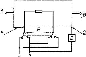 E - зажим... по @ГОСТ.  Ток утечки не должен превышать 0,25 мА. для воды; C - схема цепи для измерения тока утечки.