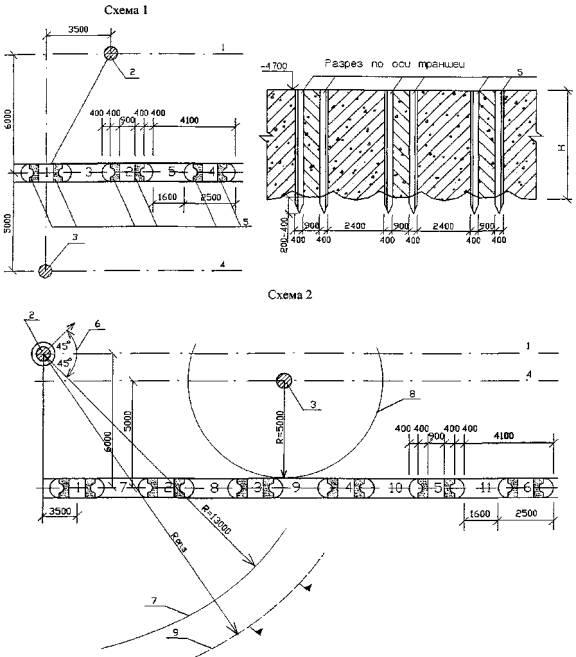 ...место установки крана ДЭК-251; 3 - место установки экскаватора ЭО-5123А; 4. ось движения экскаватора; 5...