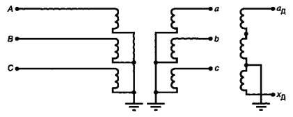 Рисунок Б.3 - Схема включения трехфазных трехобмоточных...  0266A10296F20727.  А, В, С - фазы первичной обмотки ТН; a...