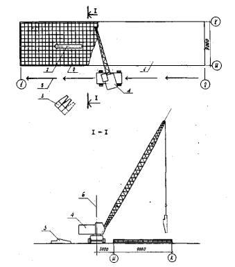 1- уложенный бетон;2 - установленная арматура;3 -бадьи с бетоном;4 - кран K-161; 5 - направление движения крана;6...