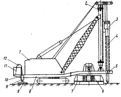 Рис. 1. Схема сваевдавливающей установки СВО-В-1.  1 - базовая машина; 2 - копровая мачта; 3 - наголовок с блоком...