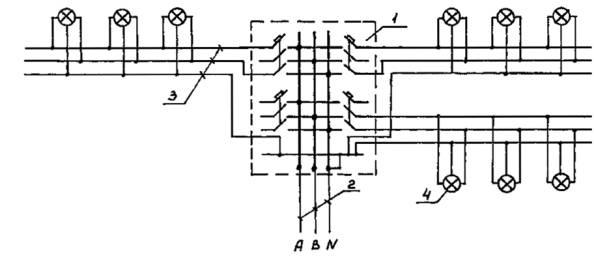 Рис. 4. Схема питания светильников в зоне класса В-I от группового щитка с трехполюсными автоматами. фазы и нейтраль...