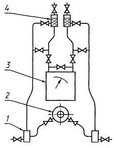 1 - отстойная камера; 2 - сужающее устройство; 3 -дифманометр; 4 - воздухосборник.  Рисунок 5 - Схема соединений...